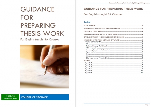 GUIDANCE FOR PREPARING THESIS WORK